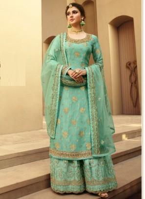 Courteous Silk Jacquard Wedding and Party Wear Aquamarine Salwar Kameez