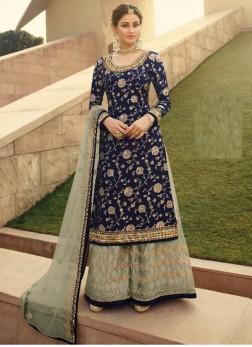Courteous Silk Jacquard Wedding and Party Wear Blue Salwar Kameez