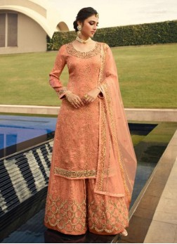 Courteous Silk Jacquard Wedding and Party Wear Peach Salwar Kameez