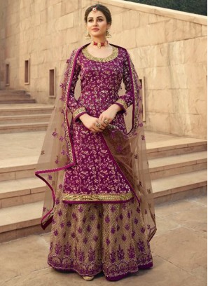 Courteous Silk Jacquard Wedding and Party Wear Purple Salwar Kameez