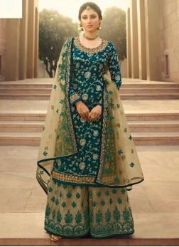 Courteous Silk Jacquard Wedding and Party Wear Teal Salwar Kameez