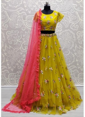 Cracking Yellow & Pink Crop-Top Style Designer Lehenga Choli