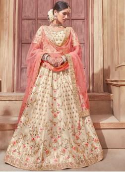 Cream and Peach Wedding Lehenga Choli