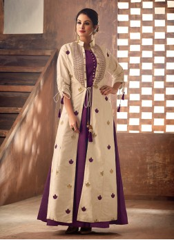 Cream and Purple Fancy Party Party Wear Kurti