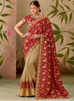 Cream and Red Art Silk Half N Half Designer Saree
