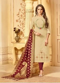 Cream Casual Cotton Churidar Salwar Kameez