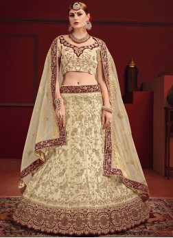 Cream Dori Work Satin Designer Lehenga Choli