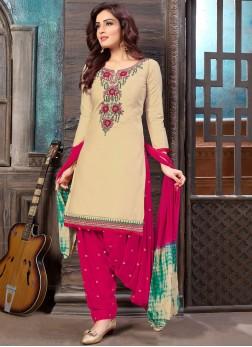 Cream Embroidered Casual Designer Patiala Salwar Kameez