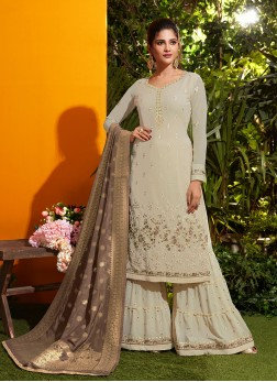 Cream Georgette Embroidered Designer Palazzo Salwar Kameez
