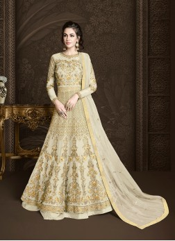 Cream Net Embroidered Floor Length Anarkali Suit