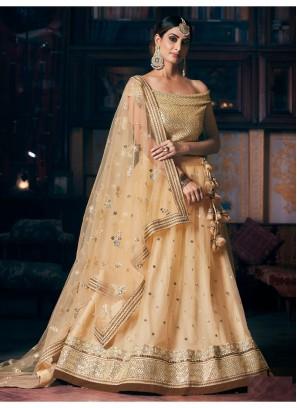 Cream Off Sholder Blouse Designer Lehenga Choli With Dupatta