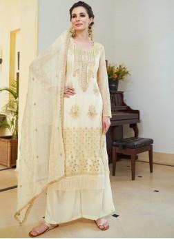 Cream Organza Designer Palazzo Salwar Suit