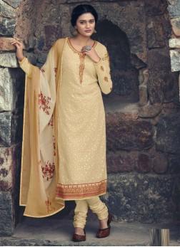 Cream Straight Salwar Kameez with Churidar style