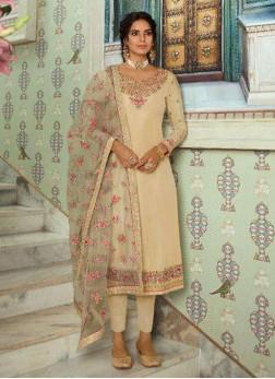 Cream Wedding Tussar Silk Designer Straight Salwar Kameez