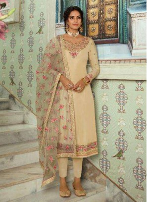 Cream Wedding Tussar Silk Designer Straight Salwar Kameez
