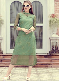 Customary Embroidered Organza Party Wear Kurti