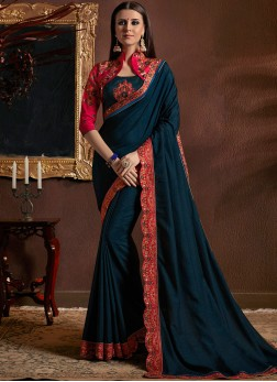 Customary Patch Border Faux Georgette Classic Designer Saree