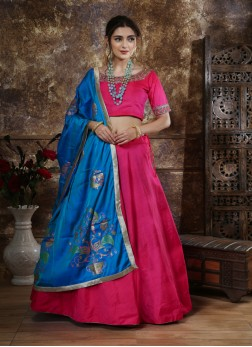 Cutdana and Stone Work Rani Pink Crop Top Lehenga Choli