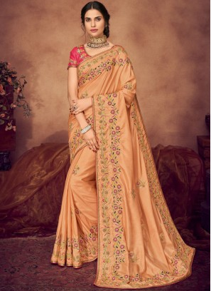 Cute Art Silk Peach Classic Saree