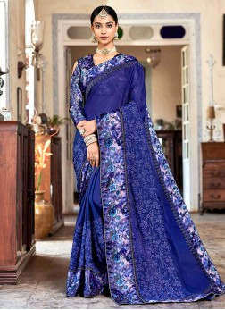 Cute Blue Faux Georgette Classic Saree