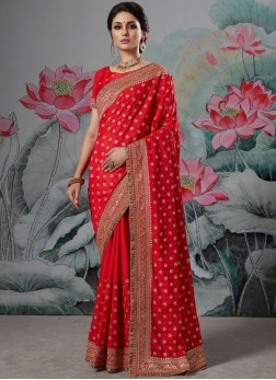 Cute Border Art Silk Red Classic Saree