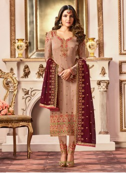 Cute Georgette Satin Embroidered Designer Straight Suit