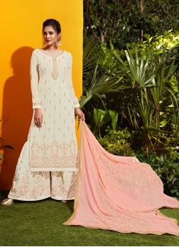 Cute Off White Georgette Designer Palazzo Suit