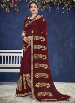 Dainty Faux Chiffon Maroon Designer Saree