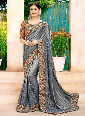 Dainty Lycra Grey Saree