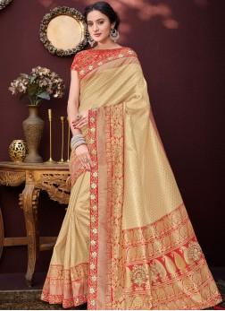 Dashing Embroidered Banarasi Silk Cream Designer Saree
