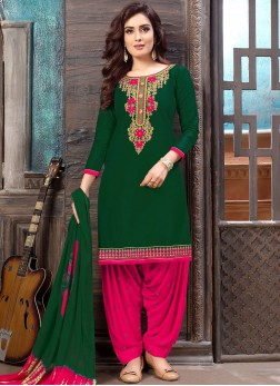 Dashing Green Embroidered Cotton Designer Patiala Suit