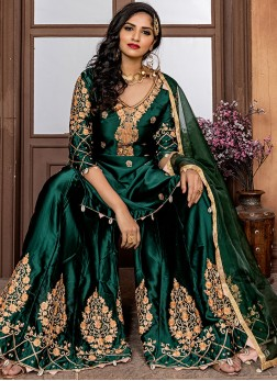 Dashing Green Party Palazzo Designer Suit