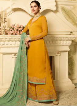 Dashing Yellow Georgette Satin Designer Palazzo Suit