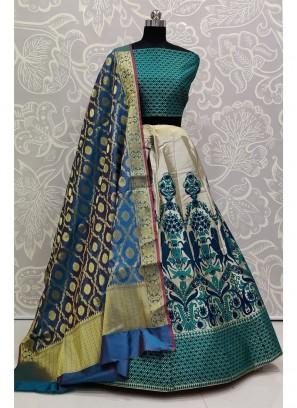Dazzling Blue Bridal Wear Banarasi Silk Lehenga Choli
