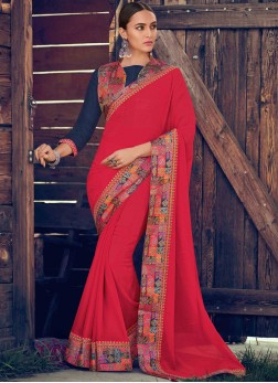 Dazzling Border Georgette Pink Trendy Saree