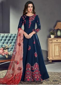 Dazzling Embroidered Art Silk Floor Length Anarkali Suit