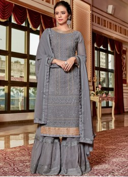 Dazzling Embroidered Grey Designer Palazzo Salwar Suit
