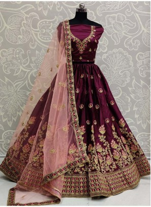 Decorous Bridal Wear Silk On Lehenga Choli In Purple