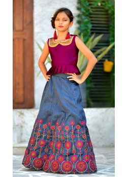 Deep Pink and Grey Color Indo Western Style Baby Girl Lehenga Choli