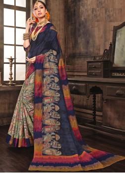 Delectable Art Silk Multi Colour Abstract Print Traditional Saree