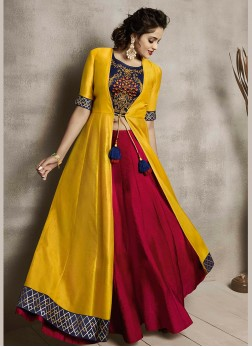 Delectable Embroidered Maroon and Yellow Party Wear Kurti
