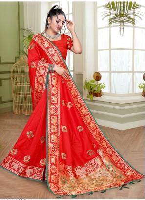 Delectable Red Reception Designer Contemporary Saree
