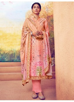 Delectable Resham Thread Work Palazzo Style On Salwar Suit In Pink