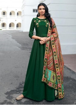 Delicate Maslin Hand Work On Salwar Suit In Green