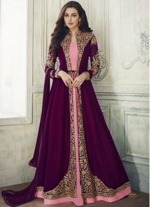 Delightful Embroidered Georgette Purple Anarkali Suit