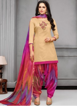 Delightsome Art Silk Embroidered Designer Patiala Suit