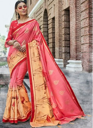 Delightsome Embroidered Pink Traditional Designer Saree