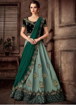 Delightsome Green Embroidered Tafeta Silk Lehenga Style Saree