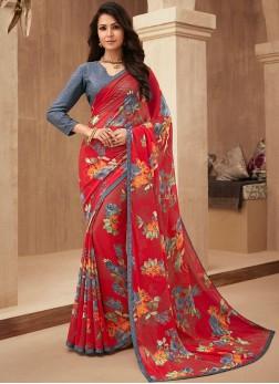 Demure Red Trendy Saree
