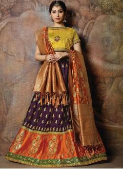 Demure Silk Multi Colour Embroidered Designer Lehenga Choli